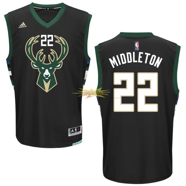 Nouveau Maillot NBA Milwaukee Bucks NO.22 Khris Middleton Noir