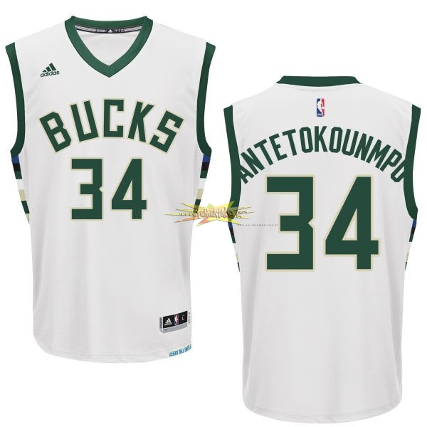 Nouveau Maillot NBA Milwaukee Bucks NO.34 Giannis Antetokounmpo Blanc