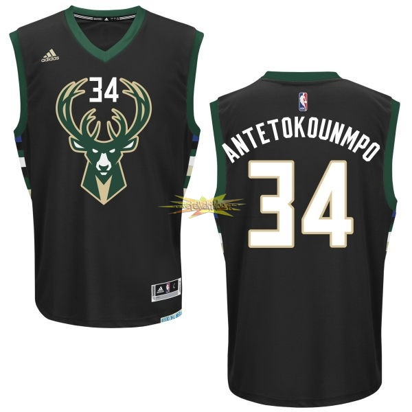 Nouveau Maillot NBA Milwaukee Bucks NO.34 Giannis Antetokounmpo Noir