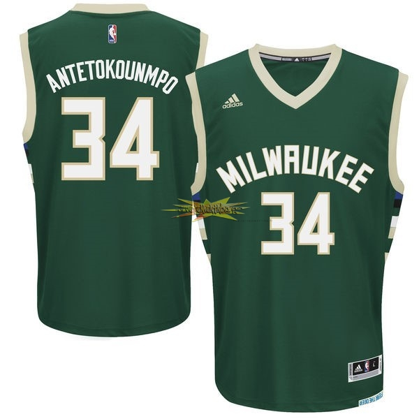 Nouveau Maillot NBA Milwaukee Bucks NO.34 Giannis Antetokounmpo Vert