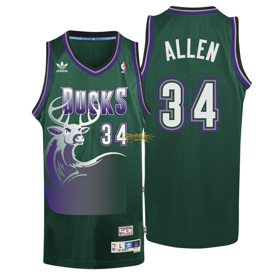 Nouveau Maillot NBA Milwaukee Bucks NO.34 Ray Allen Vert