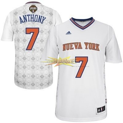 Nouveau Maillot NBA New York Knicks Nuits Latine Manche Courte NO.7 Anthony Blanc