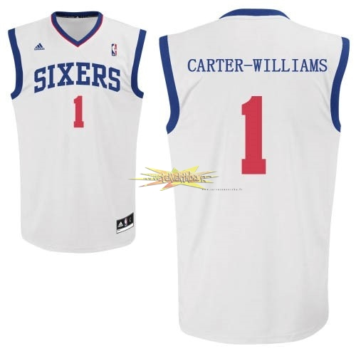 Nouveau Maillot NBA Philadelphia Sixers NO.1 Michael Carter Williams Blanc