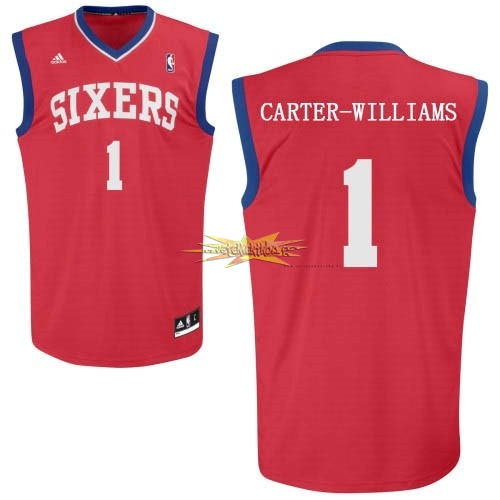 Nouveau Maillot NBA Philadelphia Sixers NO.1 Michael Carter Williams Rouge