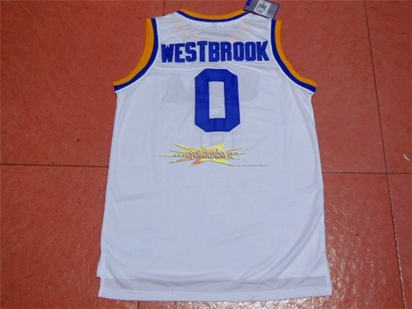 Nouveau Maillot NCAA UCLA NO.0 Russell Westbrook Blanc