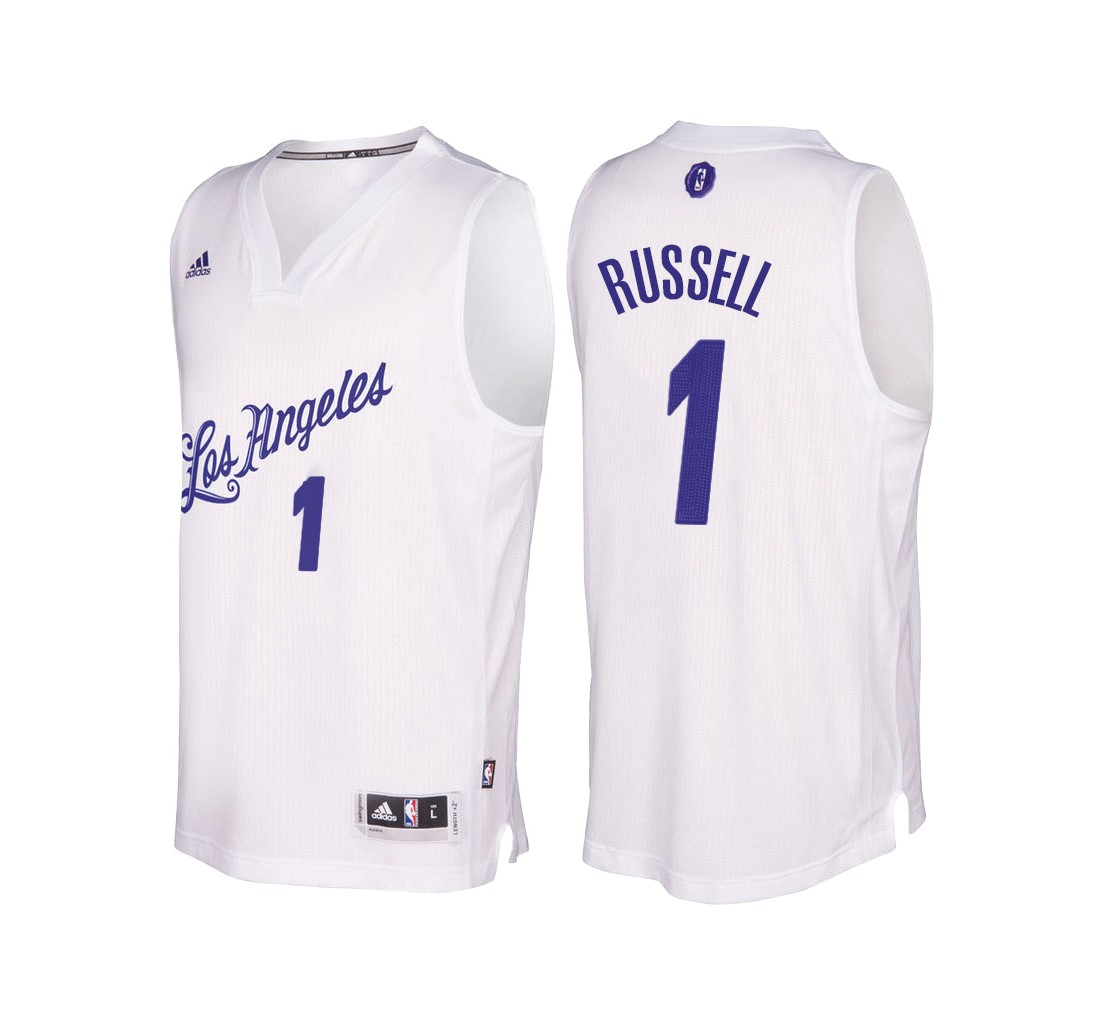 Nouveau Maillot NBA Los Angeles Lakers 2016 Noël NO.1 D'Angelo Russell Blanc